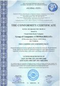 Certificate of conformity to ISO 9001-2011 and ISO 14001-2007 requirements